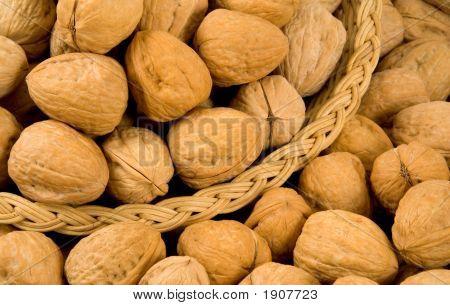 Whole Walnuts And Basket