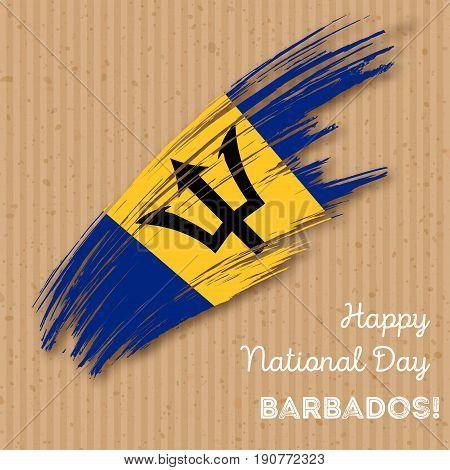 Barbados Independence Day Patriotic Design. Expressive Brush Stroke In National Flag Colors On Kraft