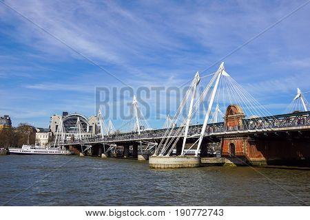 River Thames at Hungerford Bridge, London . uk