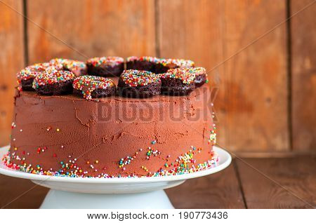 Close Up Of Rich Chocolate Cake Decorated With Baked Chocolate Doughnuts With Confetti Glaze On A Wh