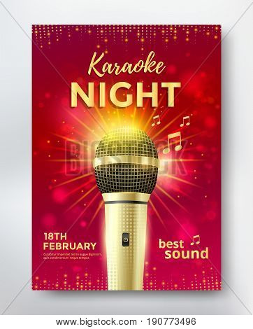 Karaoke night poster template design with golden microphone. Vector illustration