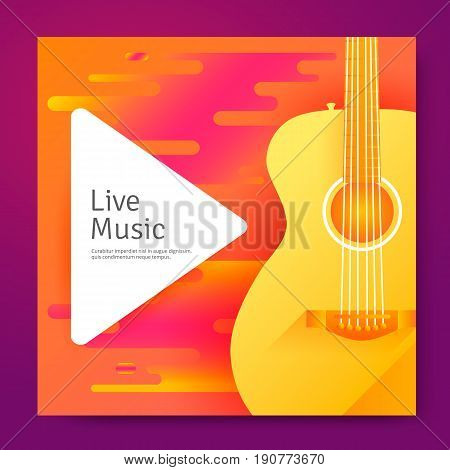 Live music vector poster template for concert. Banner with guitar