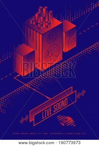 Live sound concert poster design. Music party modern flyer. Vector illustration