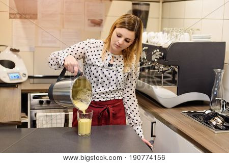 Woman, Cafe Worker Pouring Fresh Pineapple Fruit Cocktail