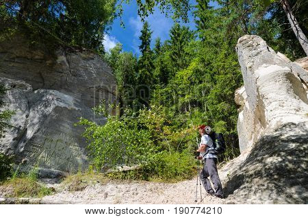 The tourist looks on the white sandstone outcrops from below. Sietiniezis Rock, Latvia.