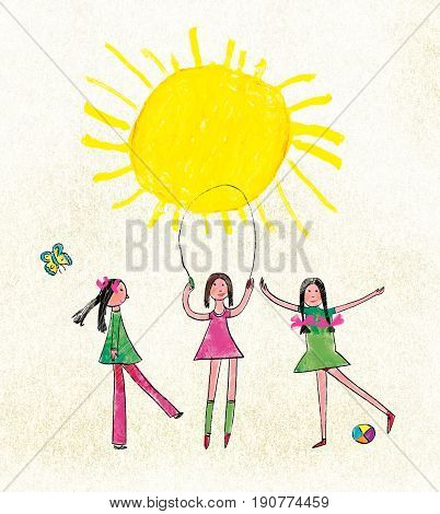 Three girls jump through the rope and play a ball against the background of the sun and a butterfly. Stylization for children's drawing