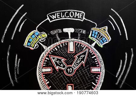 Back to school background with alarm clock with arrows with titles