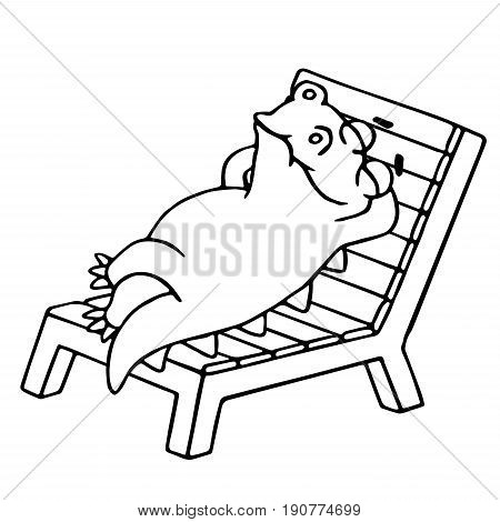Dinosaur lays on a deck-chair. Vector illustration. Funny imaginary character. Chair on a separate layer.