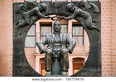 Batumi Adjara Georgia - May 27 2016: Statue Monument To Ilia Chavchavadze On Background Of Batumi State Drama Theatre Named After I. Chavchavadze.