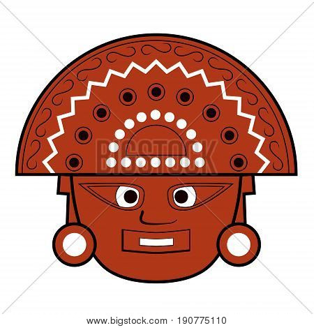 Brown Inca totem face illustration on white background