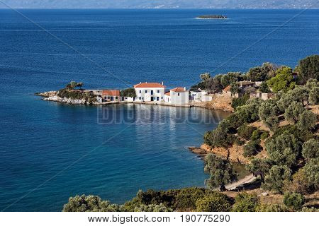 Typical mediterranean landscape with white houses, olive trees, and blue sea in Pagasetic Gulf in Thessaly, Greece
