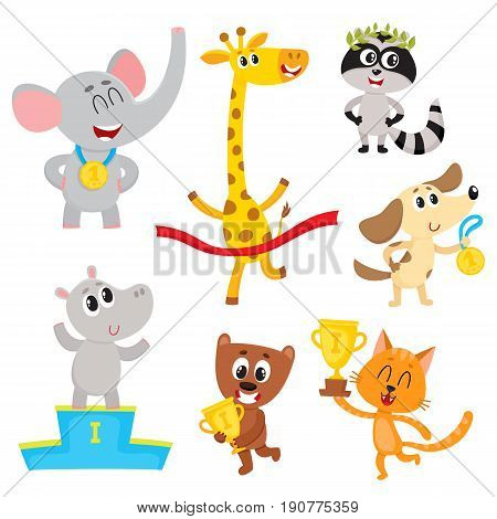 Cute little animal characters, champions, winners holding medals, cups, standing on pedestal, cartoon vector illustration isolated on a white background. Little baby animal champions with medals, cups