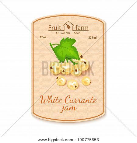 Vector white currant jam lable. Composition of ripe fruits. Design of a sticker for a jar with white currant jam, fruit marmalade, juice, smoothies. Sticker in retro style with texture for your design.