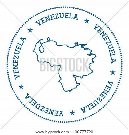 Venezuela, Bolivarian Republic Of Vector Map Sticker. Hipster And Retro Style Badge With Venezuela,
