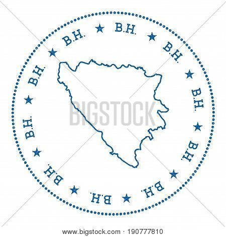 Bosnia And Herzegovina Vector Map Sticker. Hipster And Retro Style Badge With Bosnia And Herzegovina