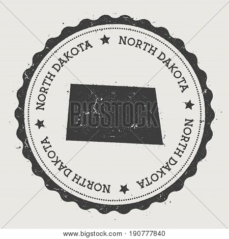 North Dakota Vector Sticker. Hipster Round Rubber Stamp With Us State Map. Vintage Passport Stamp Wi