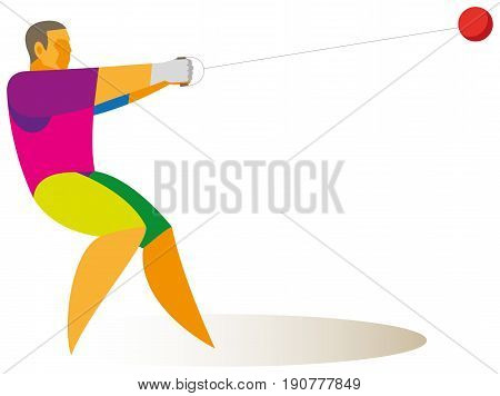 A strong athlete - a hammer thrower at a competition performs a throw
