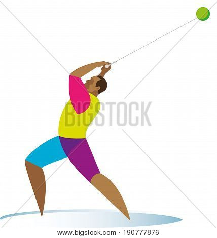 A tall and powerful athlete is a hammer thrower