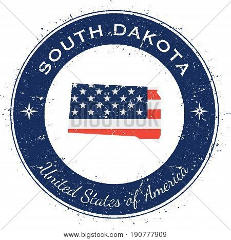 South Dakota Circular Patriotic Badge. Grunge Rubber Stamp With Usa State Flag, Map And The South Da