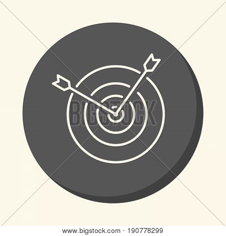 Two arrows sticking out from the center of the target a vector circular linear icon with the illusion of volume.