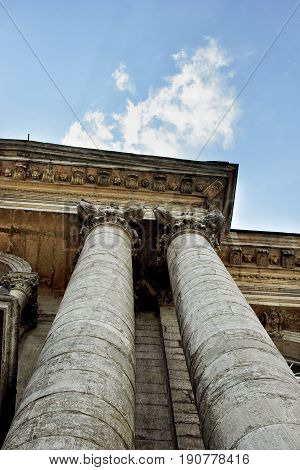 Low Angle View Of Sky And Columns Of Old Buildings