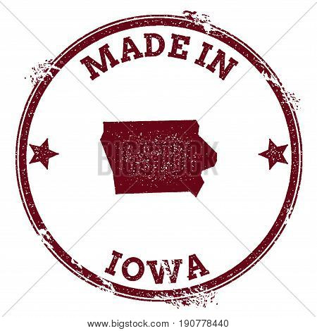Iowa Vector Seal. Vintage Usa State Map Stamp. Grunge Rubber Stamp With Made In Iowa Text And Usa St