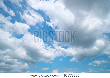 Deep blue sky and summer clouds. Nature airscape.