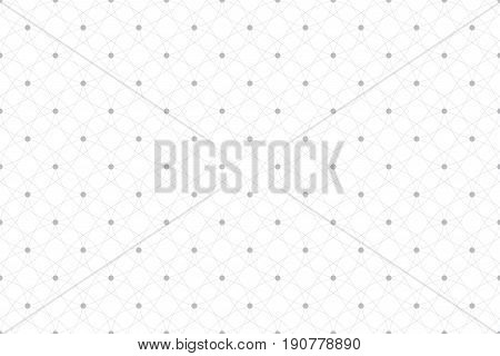 Geometric seamless pattern with connected lines and dots. Fabric texture. Lines plexus circles. Graphic background connectivity. Modern stylish backdrop for your design. Vector illustration