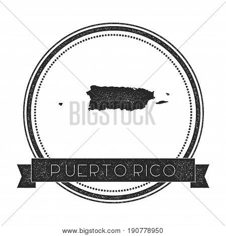 Retro Distressed Puerto Rico Badge With Map. Hipster Round Rubber Stamp With Country Name Banner, Ve