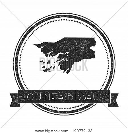 Retro Distressed Guinea-bissau Badge With Map. Hipster Round Rubber Stamp With Country Name Banner,