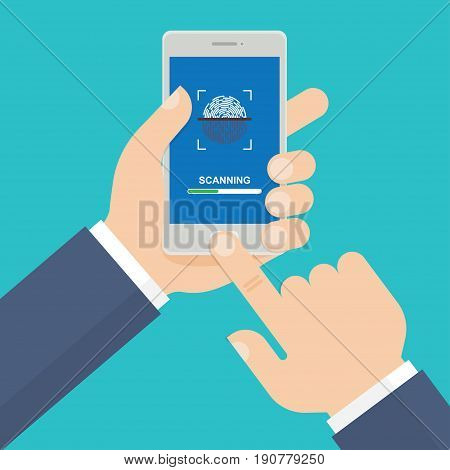mobile phone with process of scanning fingerprint on the screen. Vector illustration.