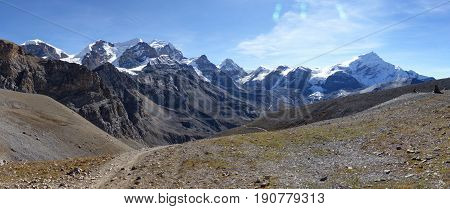 Snow capped Himalayas - Sunny day in Thorong La Pass - Annapurna Circuit Trek in Nepal