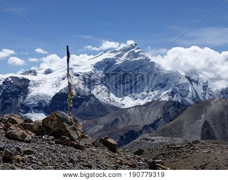 Snow capped mountain Chulu - Sunny day in Thorong La Pass - Annapurna Circuit trek in Nepal