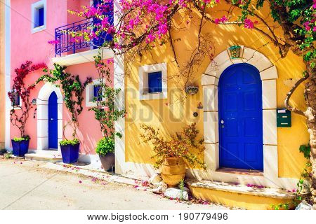 Colorful Greece series - charming streets of Assos village in Kefalonia. Ionian islands