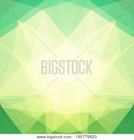 Background Made Of Yellow, White, Green Triangles. Square Composition With Geometric Shapes. Eps 10