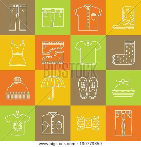 Clothes And Accessories Lineart Minimal Vector Iconset On Multicolor Checkered Texture