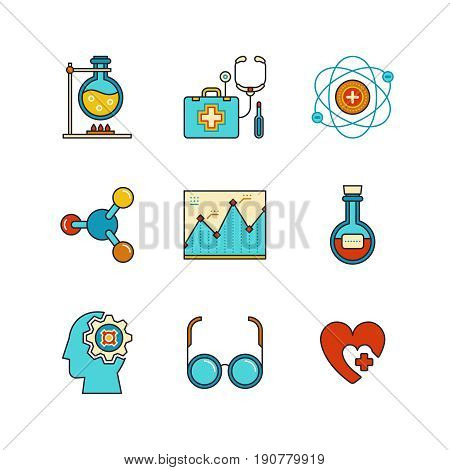 Vector Minimal Lineart Flat Medical Iconset. Chemical Flask, Doctors Support, First Aid Kit, Eye Gla