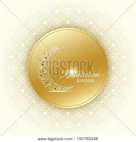 Ramadan Kareem text greetings background. Golden moon made from connected line and dots.Golden background with mandala decoration. Eid Mubarak celebration. Vector illustration
