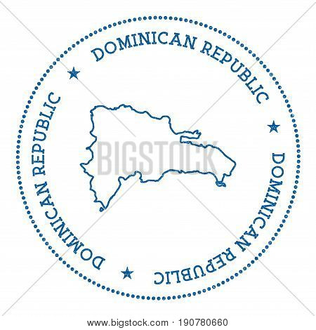 Dominican Republic Vector Map Sticker. Hipster And Retro Style Badge With Dominican Republic Map. Mi