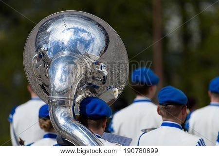 HELSINKI, FINLAND - MAY 25, 2015: The state funeral of the former President of the Republic of Finland Mauno Koivisto. Kaartin soittokunta military band playing at the funerals of President Mauno Koivisto May 25, 2017 in Helsinki, Finland.