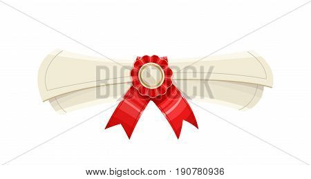 Diploma scroll with medal and red ribbon. Finish school, college, university. Education symbol. Isolated white background. Vector illustration.