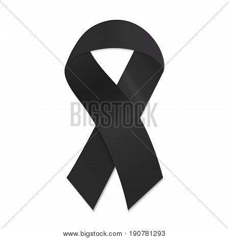 Black awareness ribbon on white background. Mourning and melanoma symbol. Vector illustration