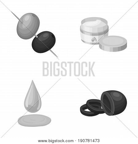 Olives on skewers. A piece of black olives, a jar of cream, a drop of oil.Olives set collection icons in monochrome  vector symbol stock illustration .