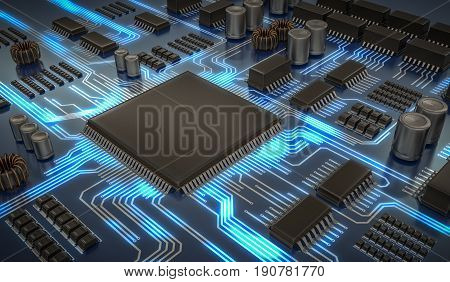 3D Rendered Illustration Of Electronic Circuit With Microchips A