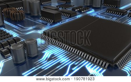 3D Rendered Illustration Of Processor Or Microchip. Technology C