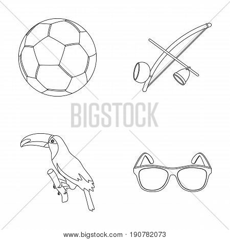 Brazil, country, ball, football . Brazil country set collection icons in outline  vector symbol stock illustration .