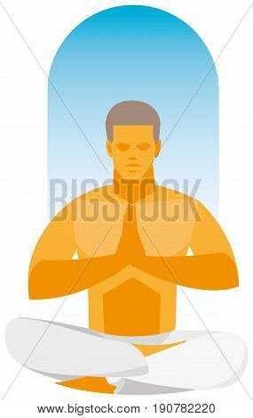Yoga poses. A yoga instructor demonstrates a pose lotos