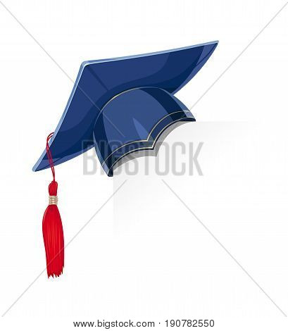 Blue academicic graduation cap paper corner. Students ceremony. Finish school, college, university. Education symbol. Isolated white background. Vector illustration.