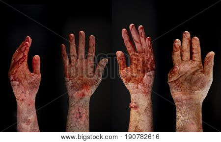 Bloody hands background , maniac ,Blood zombie hands