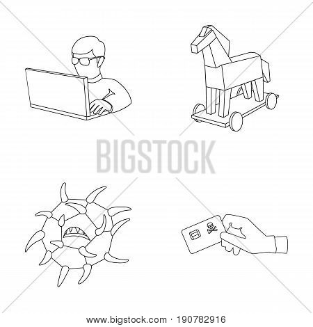 Hacker, hacking, system, internet .Hackers and hacking set collection icons in outline  vector symbol stock illustration .